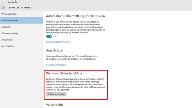 Windows-Defender: Offline-Scan ©COMPUTER BILD