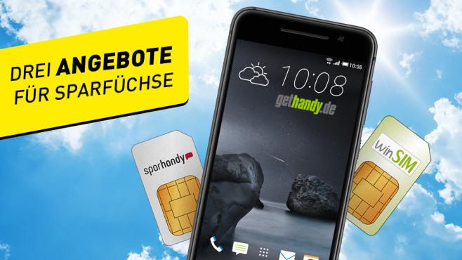 3 Tiefpreis-Tarife für alle: Smartphone, LTE oder EU-Roaming inklusive ©magann – Fotolia.com, HTC, Sparhandy, Gethandy.de