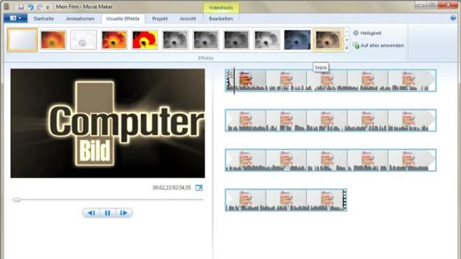 Windows Movie Maker: Fotos zu Diaschau verbinden ©COMPUTER BILD