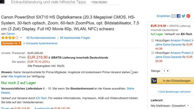 Beispiel für Amazon-Protect-Angebot ©COMPUTER BILD