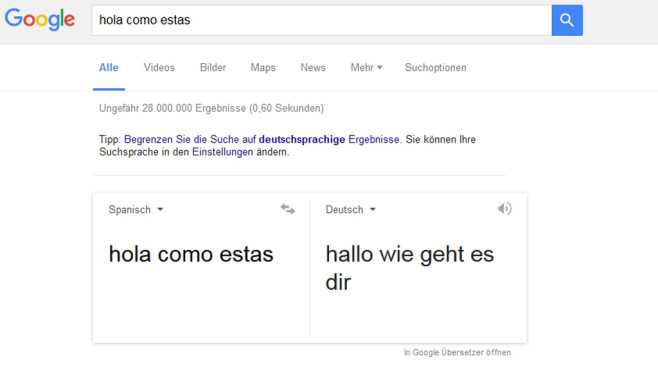 Automatische Google-Übersetzung ©Screenshot Google