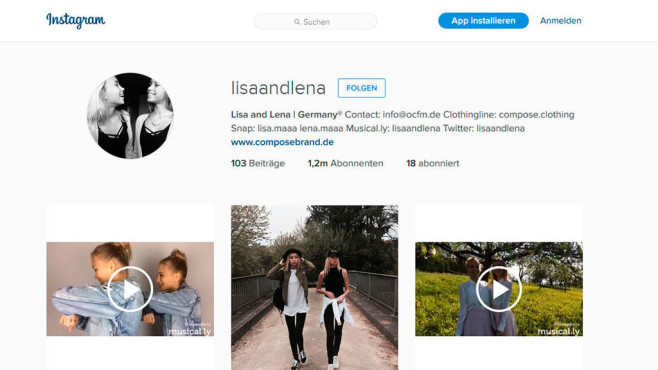 Instagram-Account von Lisa und Lena ©lisaandlena/Instagram
