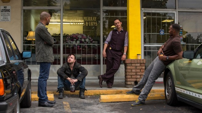 Szene aus Triple 9: Chiwetel Ejiofor, Aaron Paul, Clifton Collins Jr., Anthony Mackie © Wild Bunch