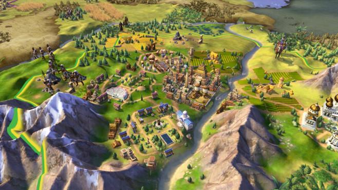 Civilization 6 angespielt: Krieg und Frieden Im sechsten Teil nehmen die Städte nicht nur inhaltlich, sondern auch optisch deutlich mehr Platz ein als früher. ©2k Games
