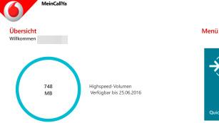 Vodafone CallYa im Praxis-Test: Wie gut funktioniert die Prepaid-Karte als Reise-SIM für die ganze EU? In der Callya-App (bei deaktivertem WLAN und aktiver Mobilfunkverbindung) kann man den Datenverbrauch sehen und Optionen ändern. ©COMPUTER BILD