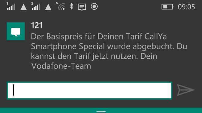 Vodafone CallYa im Praxis-Test: Wie gut funktioniert die Prepaid-Karte als Reise-SIM für die ganze EU? Erst wenn diese Bestätigungs-SMS eintrifft, kann die Smartphone-Option via Datenflat genutzt werden. Von der Aufladung bis zur Bestätigung können 12 Stunden oder eine Nacht vergehen. ©COMPUTER BILD