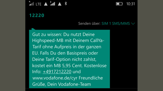 Vodafone CallYa im Praxis-Test: Wie gut funktioniert die Prepaid-Karte als Reise-SIM für die ganze EU? Nach Ankunft im EU-Reiseland meldet Vodafone die Gültigkeit der Option auch dort. ©COMPUTER BILD