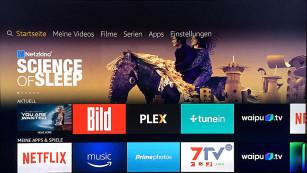 Amazon Fire-TV bestellt Pizza und macht's Licht aus Das neue Fire TV Menü geht nun mehr in die Horizontale und lässt sich besser auf den Nutzer zuschneiden. ©COMPUTER BILD