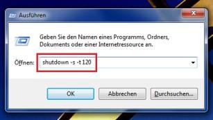 Windows 7/8/10: Automatisch herunterfahren ©COMPUTER BILD