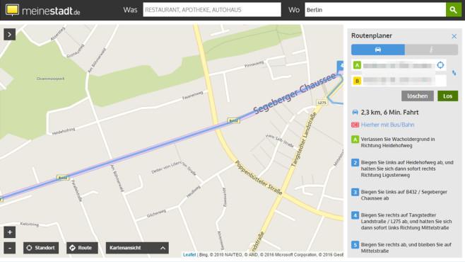 Meinestadt.de-Routenplaner: Strecken anzeigen mit exakten Eingaben ©COMPUTER BILD