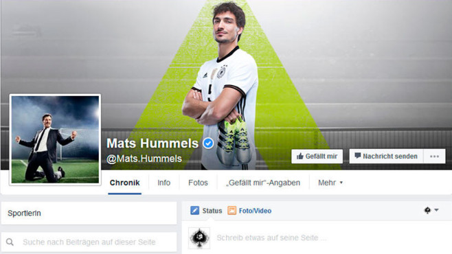 Mats Hummels bei Facebook © Screenshot: Facebook.com
