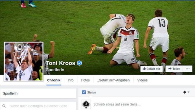 Toni Kroos bei Facebook © Screenshot: Facebook.com
