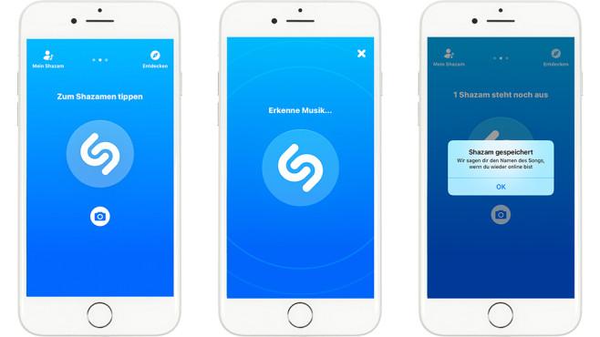 Shazam Offline-Modus iPhone7 ©Shazam, Apple