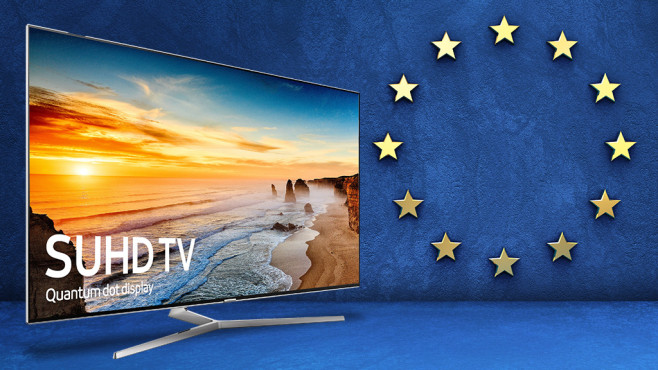 Als EU-Modell sind Fernseher günstiger Hoch lebe die EU: Als importierter UE65KS8000 ist der Samsung-Fernseher günstiger als das hierzulande angebotene Modell UE65KS8090. ©Samsung, Paulista – Fotolia.com
