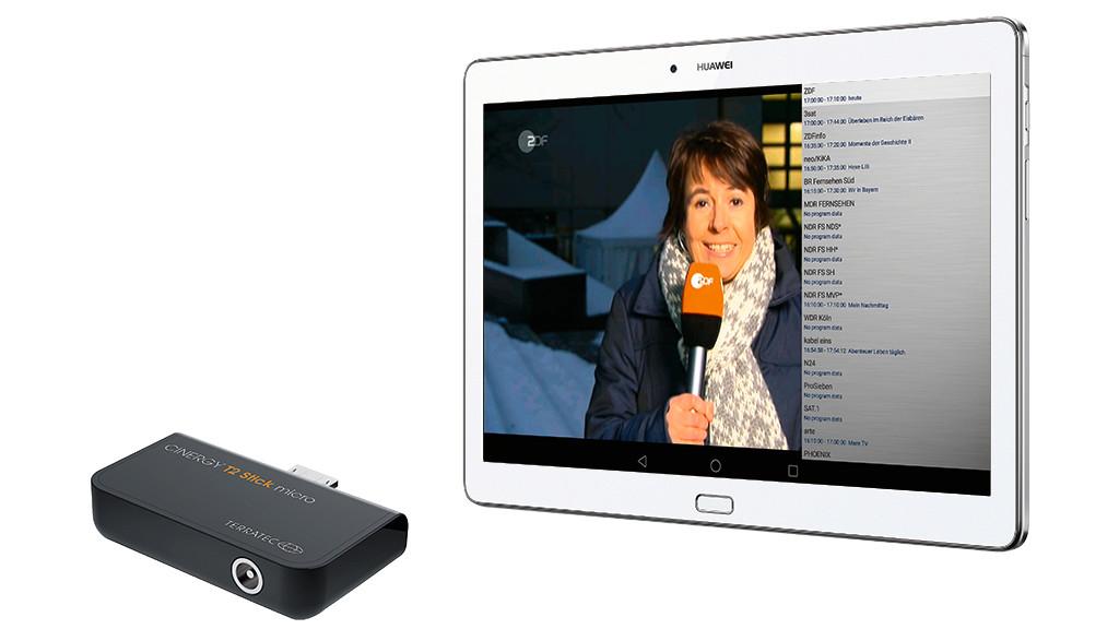 Terratec: DVB-T2-Stick für unterwegs im Test Der Terratec Cinergy T2 Micro hat einen Micro-USB-Anschluss für Android-Geräte. Per Adapter lässt er sich auch an Windows-Geräte mit großem USB anschließen. ©COMPUTER BILD