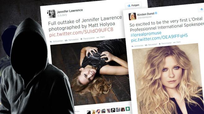 iCloud-Hack: Nacktfotos von Jennifer Lawrence, Kate Upton & Co. im Netz Hacker haben sich an den Cloud-Diensten der Promis bedient – und dort pikante Details entdeckt. ©rangizzz - Fotolia.com, Kirsten Dunst, Jennifer Lawrence, Twitter