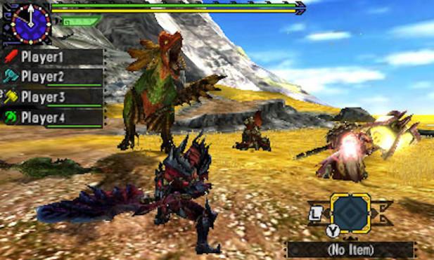 """Monster Hunter – Generations: Die Bosskampf-Invasion Im Multiplayer-Modus mit einem Quartett aus eingespielten Jägern läuft """"Monster Hunter – Generations"""" zu Hochform auf. ©Capcom"""