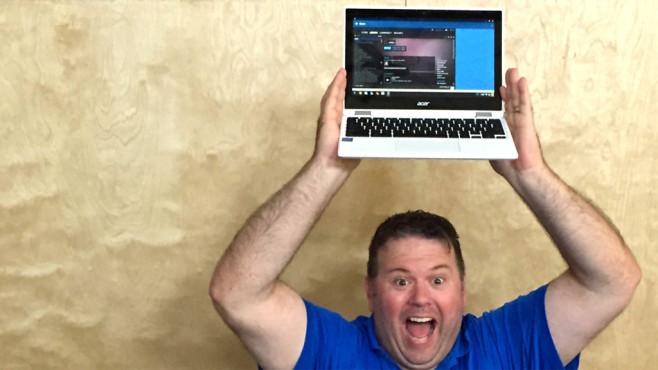 Software bringt Windows-Programme auf ChromeOS zum Laufen Der Chef des Unternehmens, James Ramey, zeigt sich in einem  überglücklich über die neue Software. ©CodeWeavers
