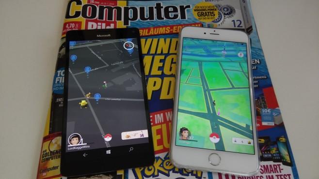 """Pokémon GO: Nach Job-Absage – App für Windows 10 Mobile entwickelt Im wahrsten Sinne ein Unterschied wie Tag und Nacht: Die offizielle """"Pokémon GO""""-App auf dem iPhone 6S Plus (rechts) und die Windows-Bastellösung (links). ©COMPUTER BILD"""