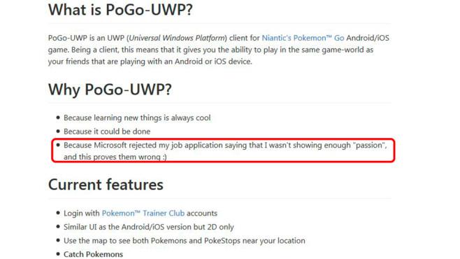 """Pokémon GO: Nach Job-Absage – App für Windows 10 Mobile entwickelt Rache ist süß: Auf der Seite zur """"Pokémon GO""""-App für Windows 10 Mobile nennt der Entwickler die Gründe für seine App-Umsetzung. ©Github.com"""