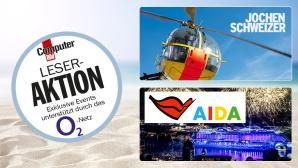 O2-Netztest auf dem Kreuzfahrtschiff AIDAprima und am Jochen-Schweizer-Action-Tag mit Hubschrauber ©Jochen Schweizer, AIDA, COMPUTER BILD, magdal3na � Fotolia.com