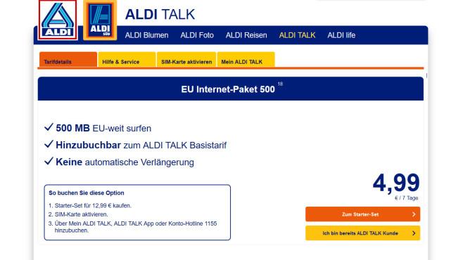 Aldi EU Internet Paket 500 ©Aldi