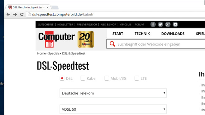 20 speedtest dsl computer hardware und windows messen bilder screenshots computer bild. Black Bedroom Furniture Sets. Home Design Ideas