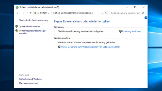 Backup – Windows 10 ©COMPUTER BILD