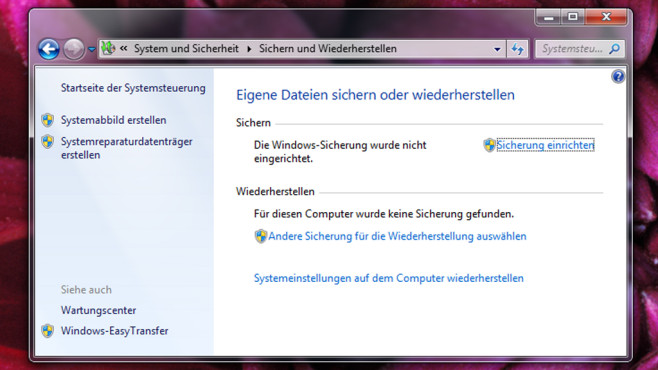 Backup – Windows 7 © COMPUTER BILD
