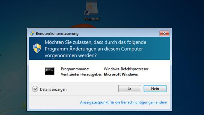 Benutzerkonten-Steuerung  – Windows 7 ©COMPUTER BILD
