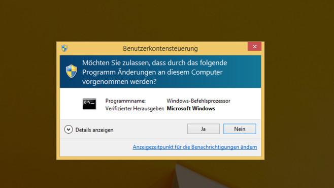 Benutzerkonten-Steuerung  – Windows 8 ©COMPUTER BILD