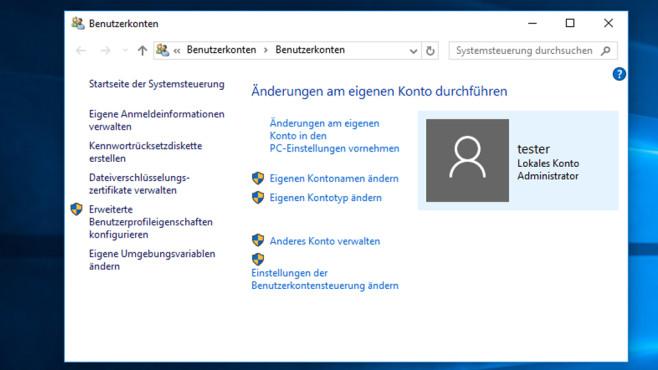 Benutzerkonten – Windows 10 ©COMPUTER BILD