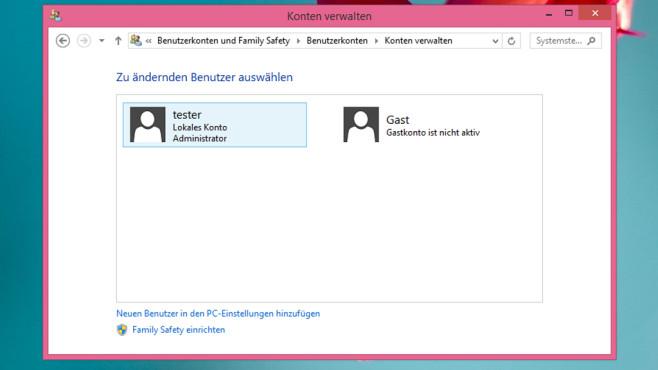 Benutzerkonten – Windows 8 ©COMPUTER BILD