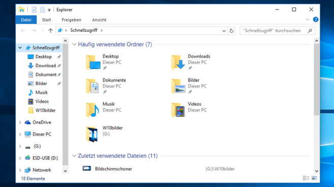 Dateimanager – Windows 10 © COMPUTER BILD