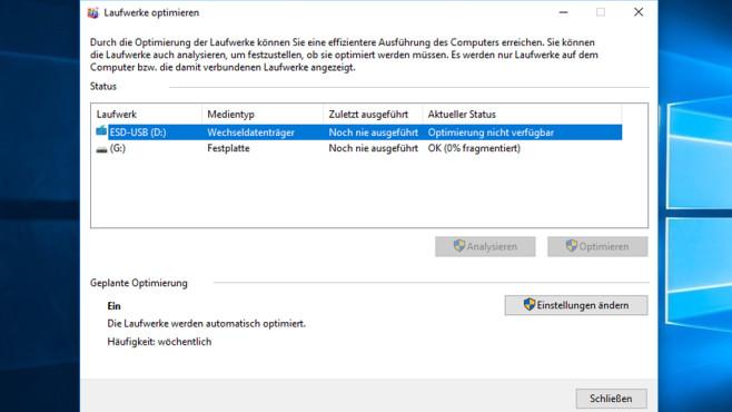 Defragmentierung – Windows 10 ©COMPUTER BILD