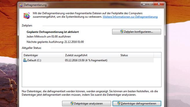 Defragmentierung – Windows 7 ©COMPUTER BILD
