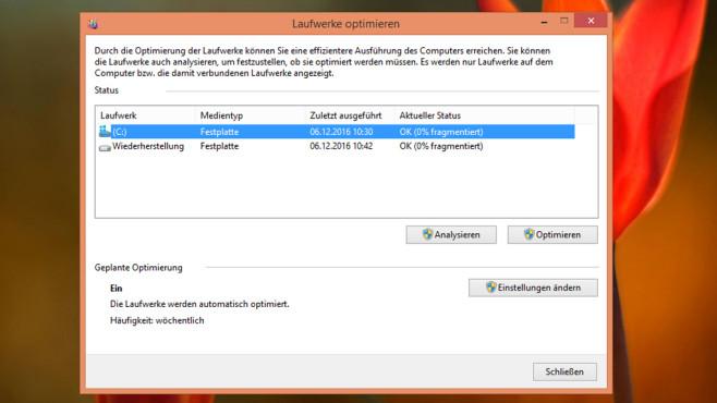 Defragmentierung – Windows 8 ©COMPUTER BILD