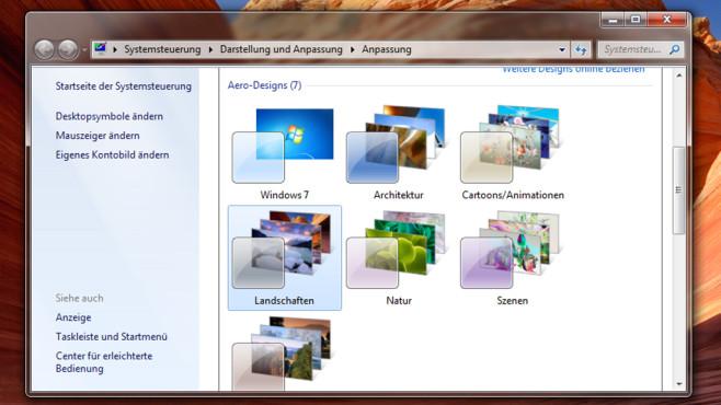 Desktop-Hintergründe und Designs – Windows 7 ©COMPUTER BILD