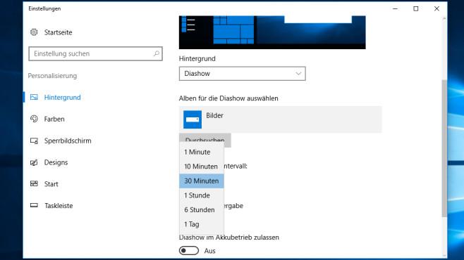 Desktop-Hintergründe und Wechsel-Intervalle – Windows 10 ©COMPUTER BILD