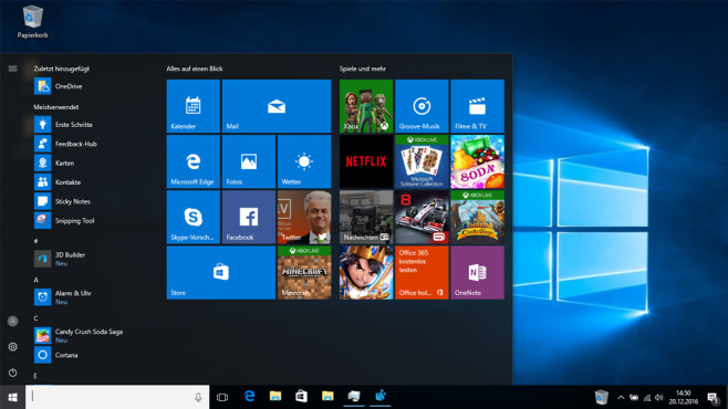 Desktop und Taskleiste – Windows 10 © COMPUTER BILD