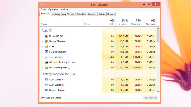 Task-Manager – Windows 8 © COMPUTER BILD