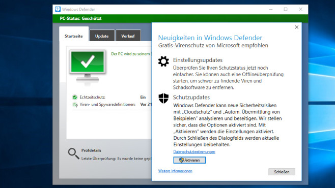 Windows Defender – Windows 10 © COMPUTER BILD