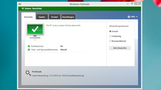 Windows Defender – Windows 8 © COMPUTER BILD
