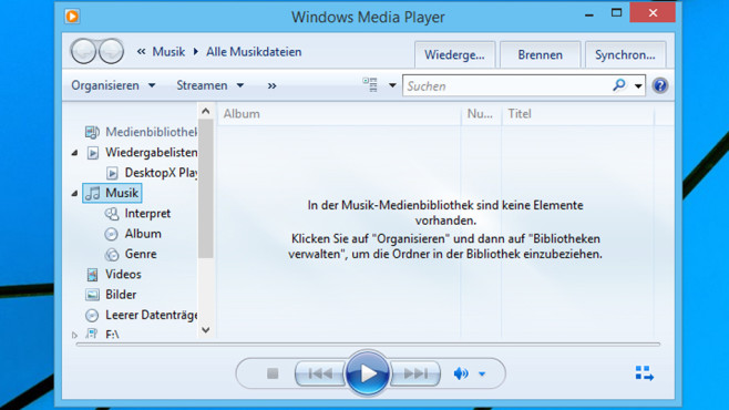 Windows Media Player – Windows 8 ©COMPUTER BILD