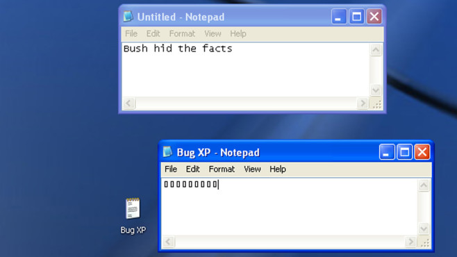 Bush versteckt die Fakten – Windows leugnet es ©COMPUTER BILD