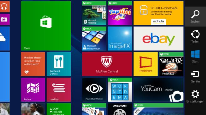 Windows 8: Charms-Bar erscheint nicht mehr – das hilft Rechts prangt die Charms-Bar: Sie zurückzuholen, ist Ihr Ziel. Probieren Sie beispielsweise eine Tastenkombination. ©COMPUTER BILD
