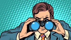 ©Fotolia--studiostoks-Businessman looking through binoculars. Lead vision