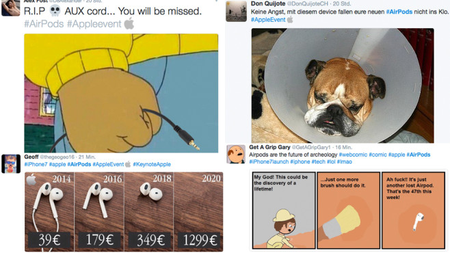 Apple Airpods Twitter-Reaktionen ©Twitter – @D8Alexander @DonQuijoteCH @GetAGripGary1 @thegeogeo16