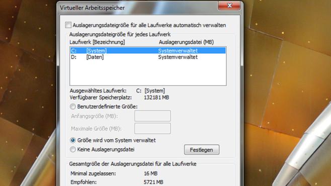 Auslagerungsdatei auf SSD belassen ©COMPUTER BILD