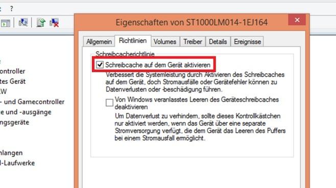 Schreibcache der Festplatte nutzen ©COMPUTER BILD